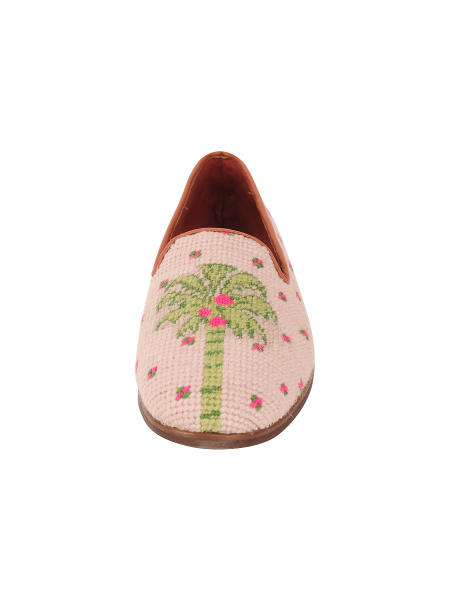 Womens Preppy Palm on Light Pink Needlepoint Loafer 4