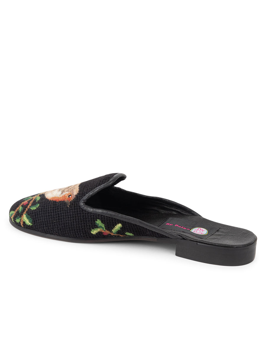 Womens Robin Black Needlepoint Mule 2