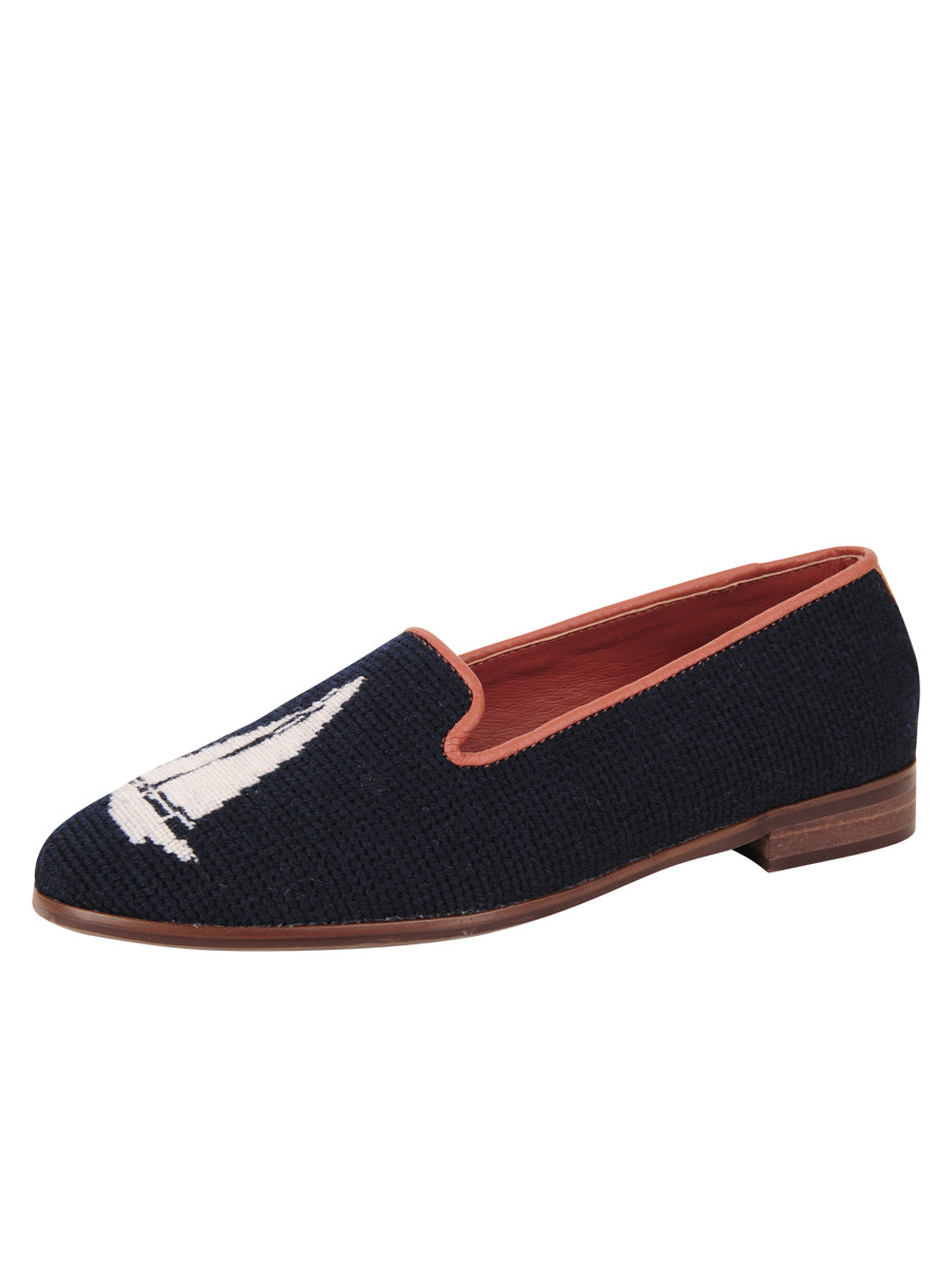 Womens White Sailboat on Navy Needlepoint Loafer 2