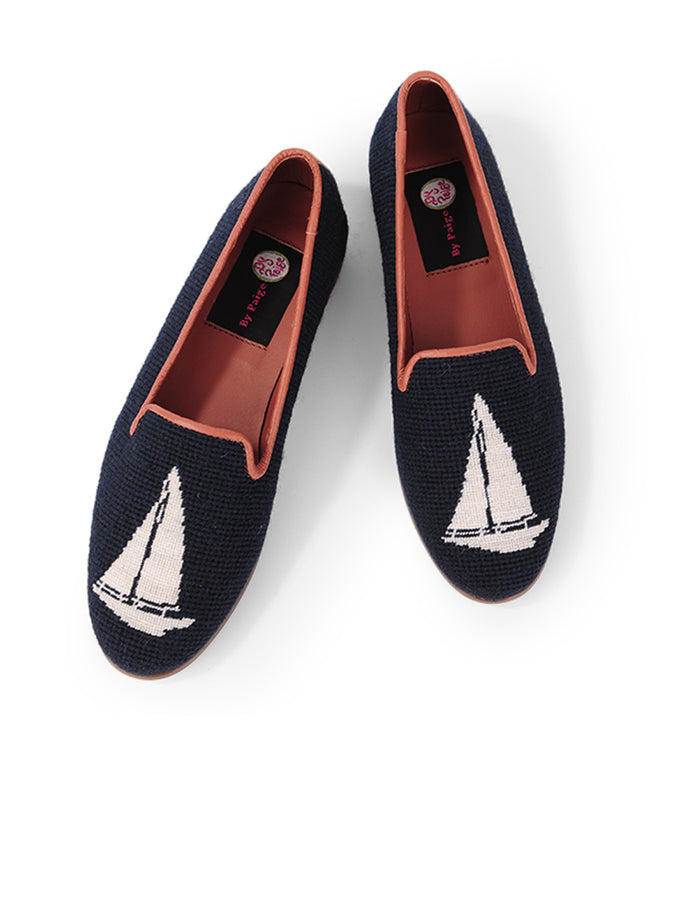 Womens White Sailboat on Navy Needlepoint Loafer