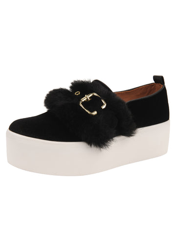 Womens Black Velvet/White Sole Valentina