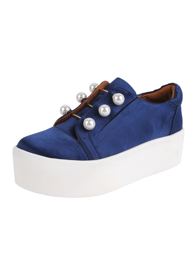 Womens Navy Satin Val