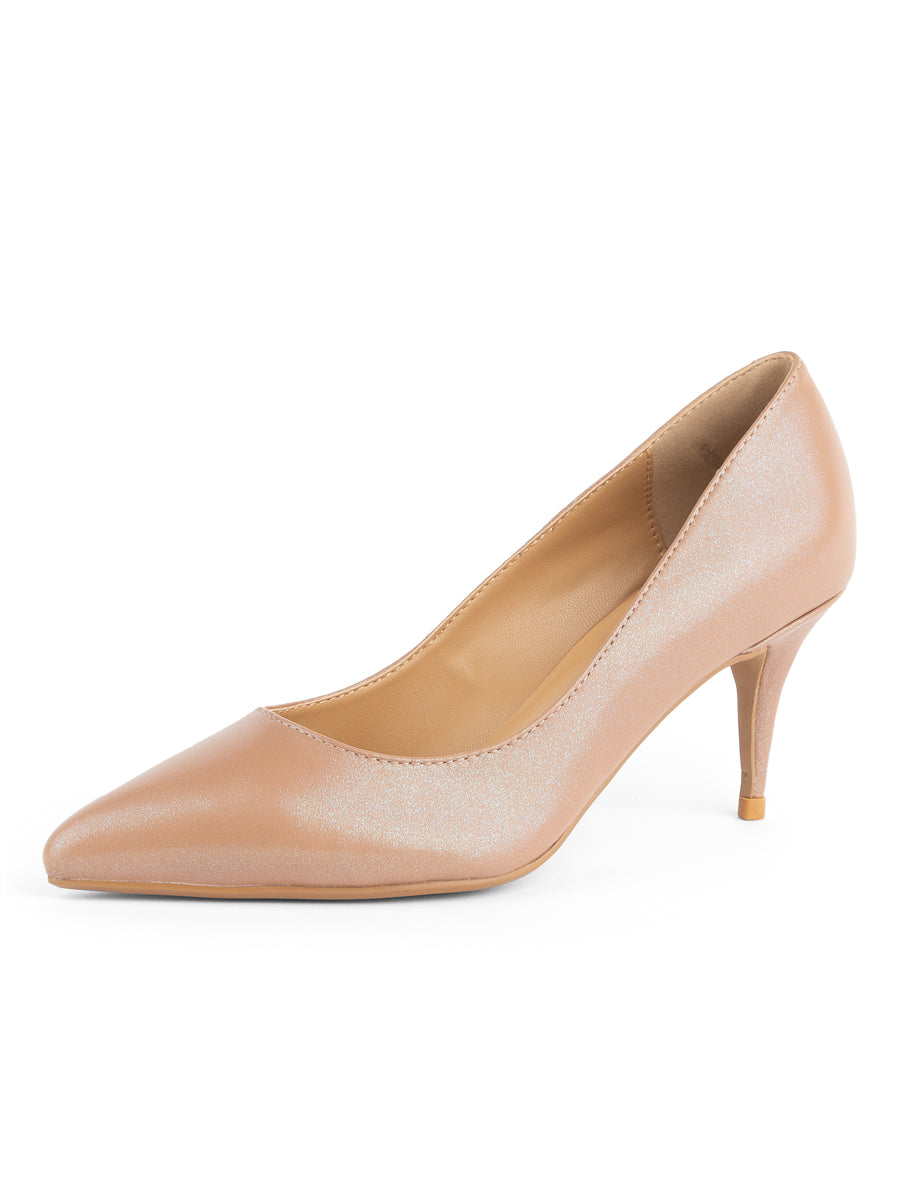 Womens Nude/Beige Leather Francine Pump 2
