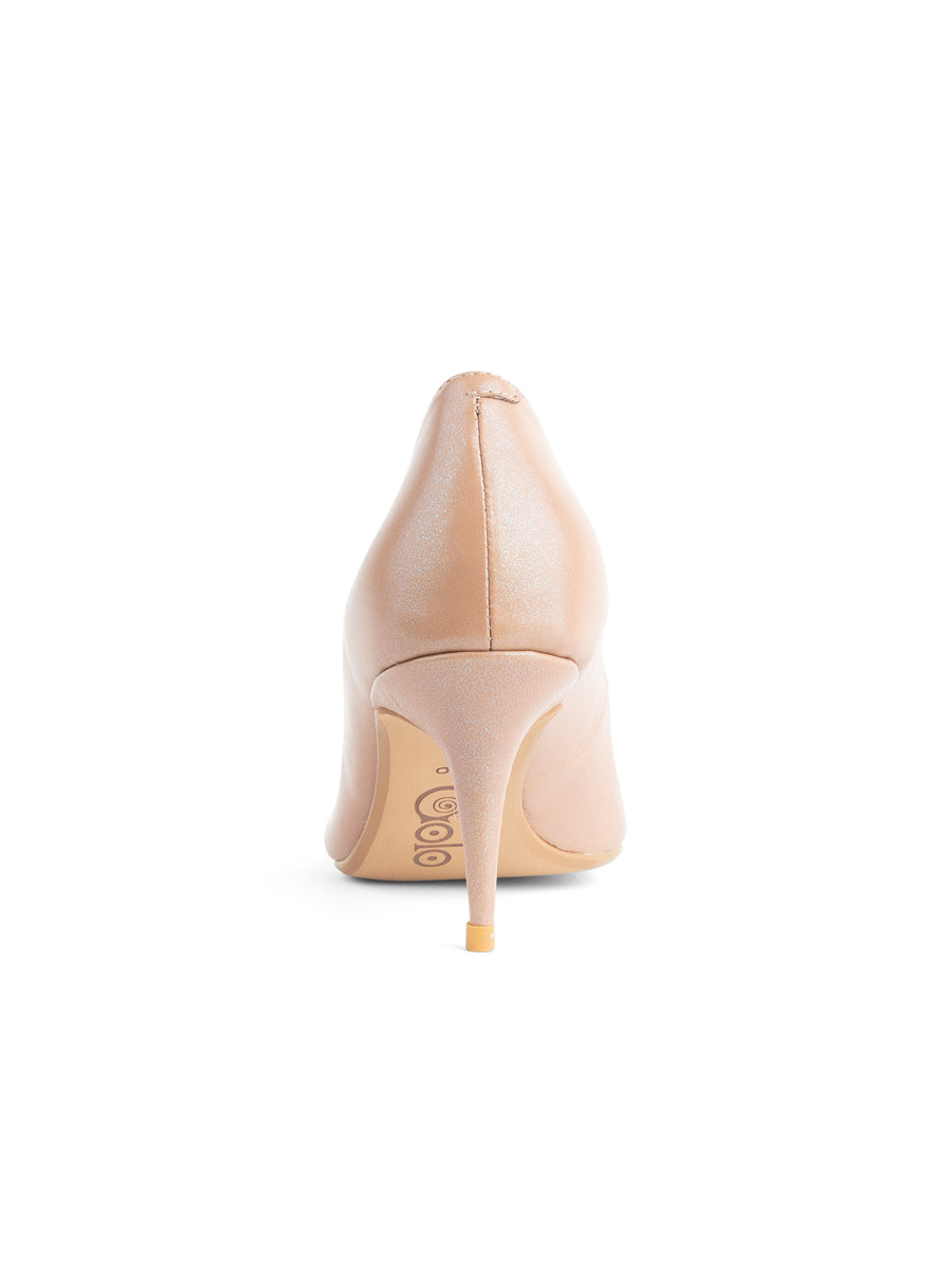Womens Nude/Beige Leather Francine Pump 4