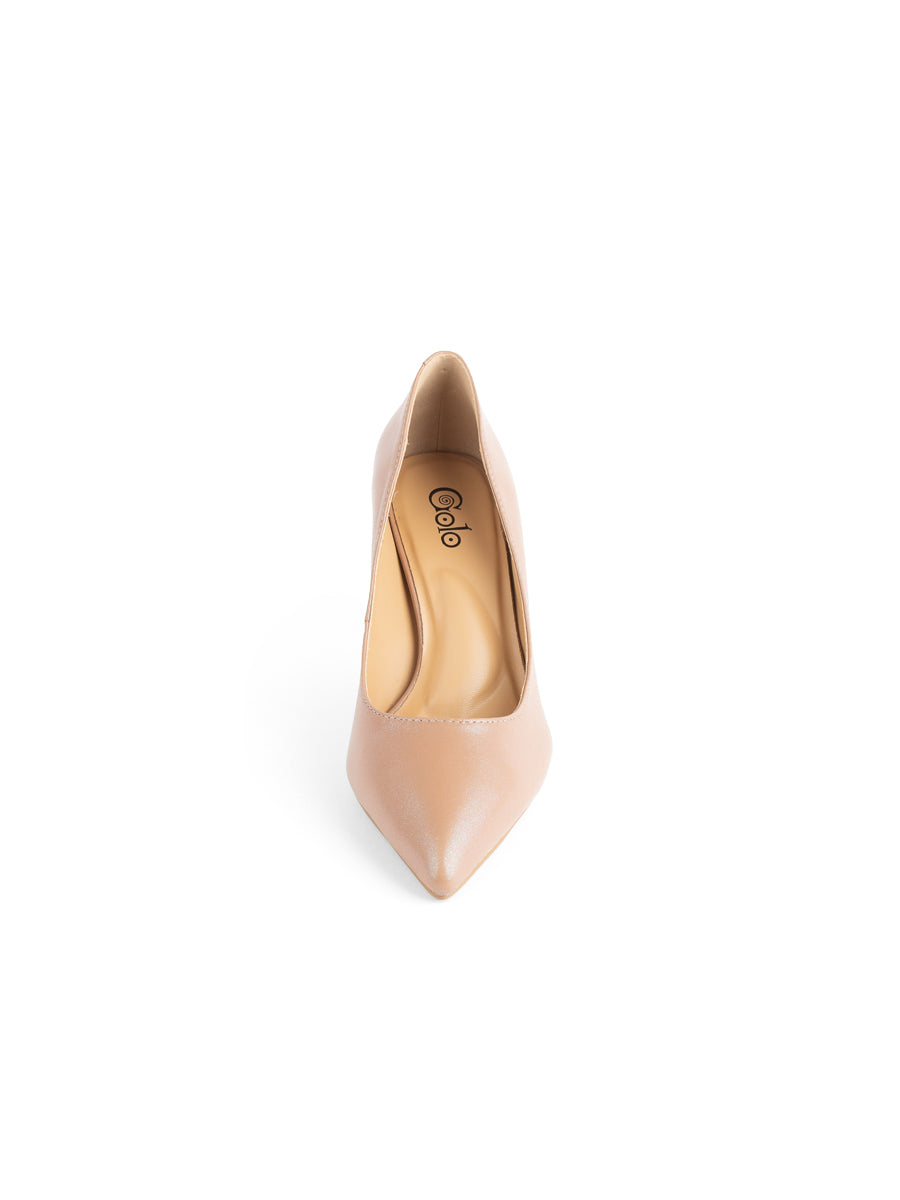 Womens Nude/Beige Leather Francine Pump 6