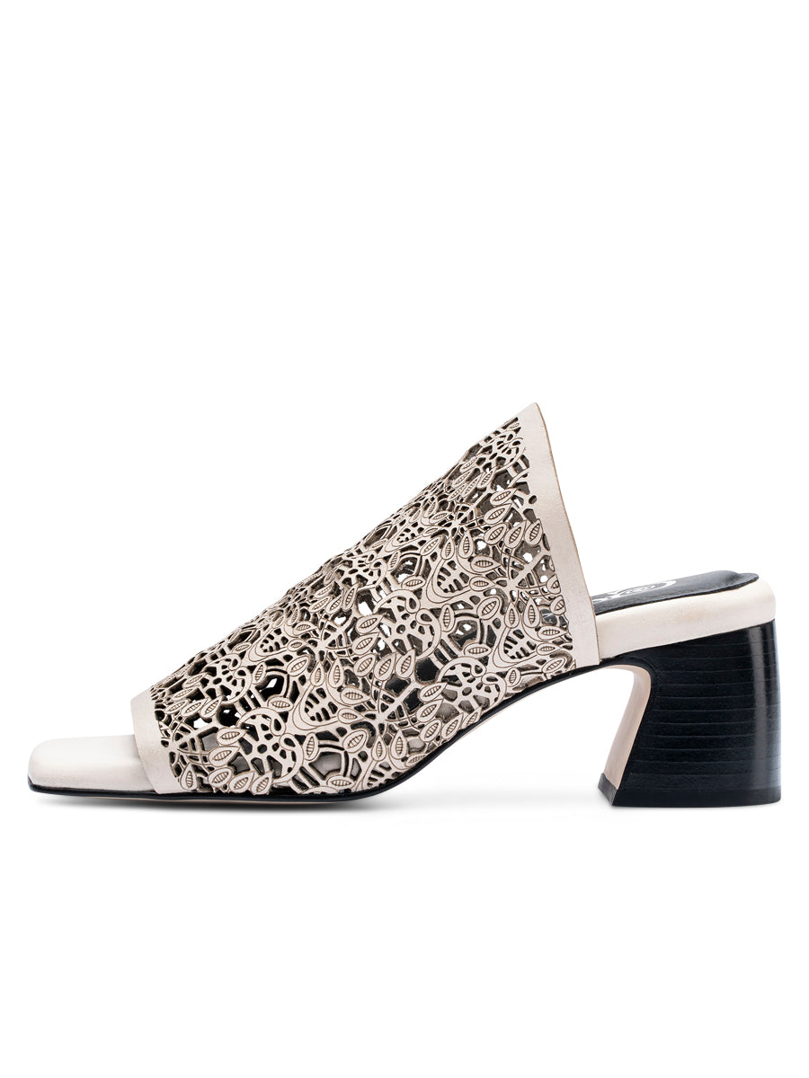 Womens Off White Lazery Mule 2