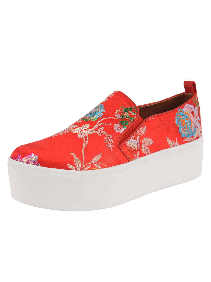 Womens Red Silk Brocade Vivian