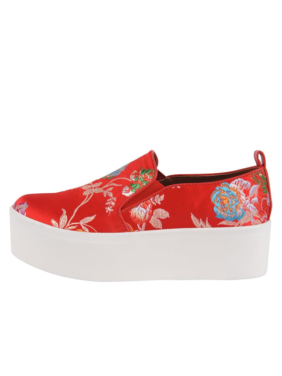 Womens Red Silk Brocade Vivian 2
