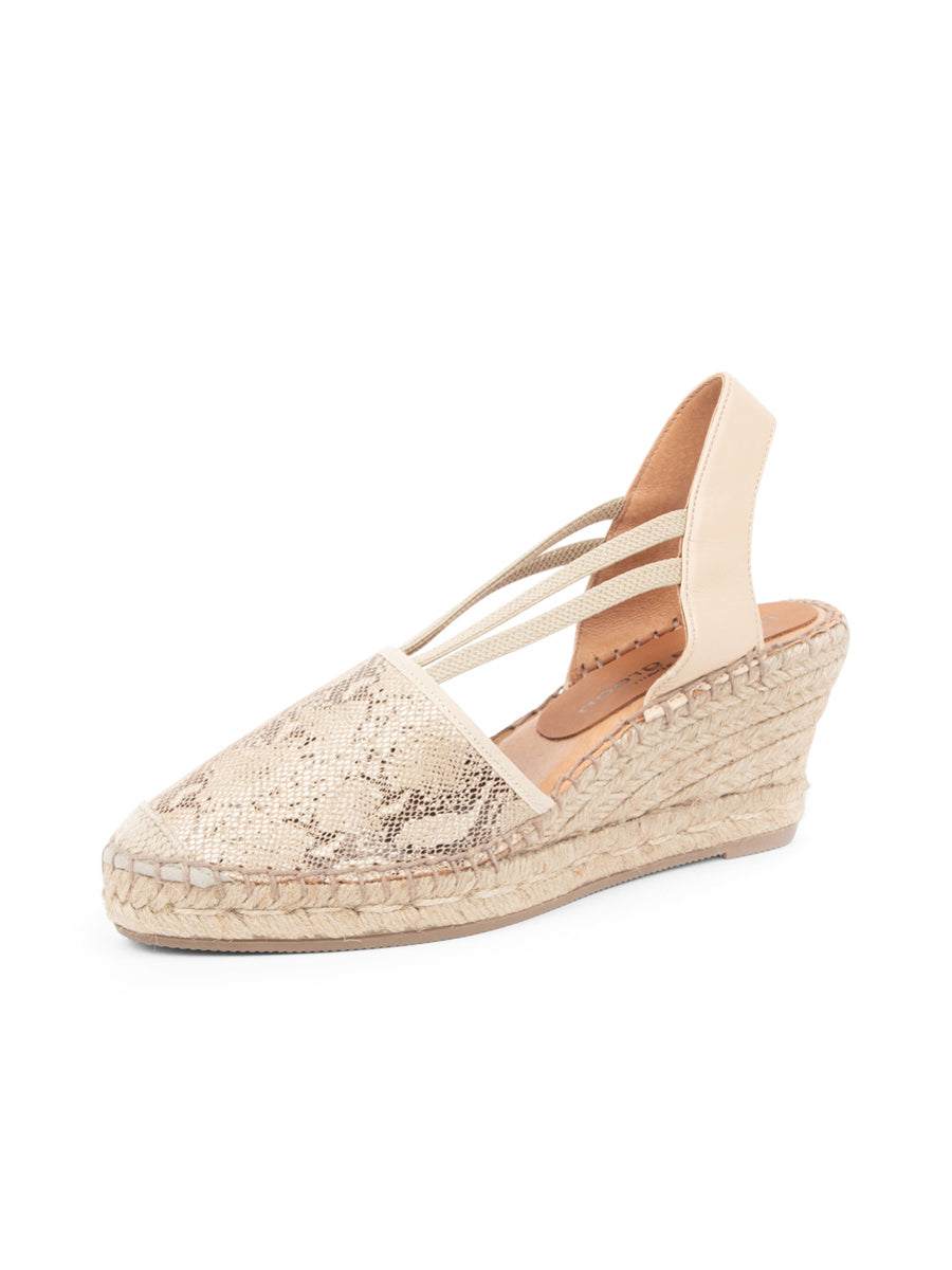 Womens Beige Snake Seville Closed Toe Slingback with Elastic Strap