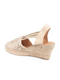 Womens Beige Snake Seville Closed Toe Slingback with Elastic Strap 2