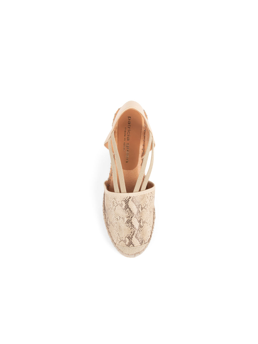 Womens Beige Snake Seville Closed Toe Slingback with Elastic Strap 7