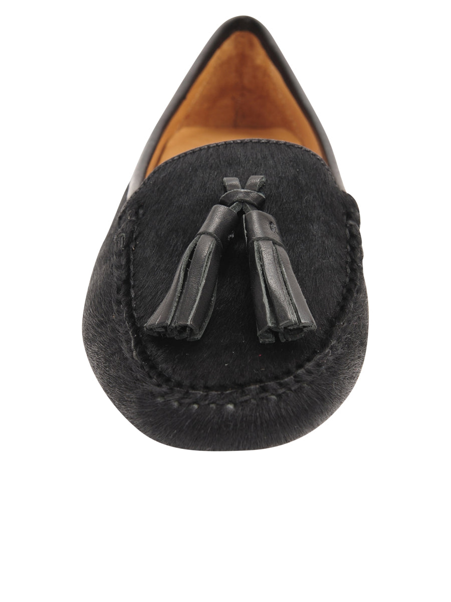 Womens Black Haircalf Ricky Driving Moccasin 4