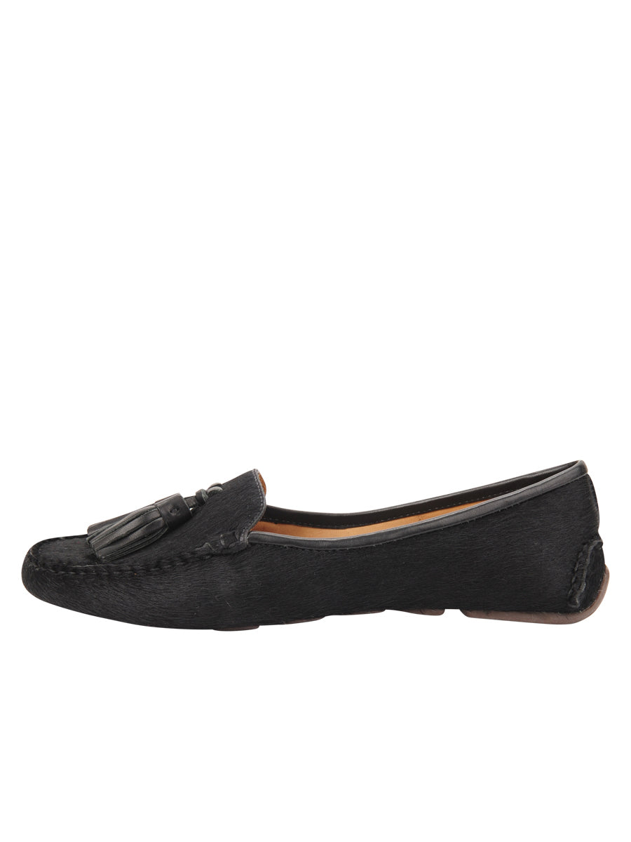 Womens Black Haircalf Ricky Driving Moccasin 6