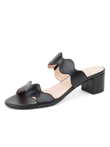Womens Black Leather Palm Beach Scalloped Sandal