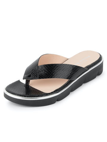 Womens Black Python Casablanca Thong Sandal
