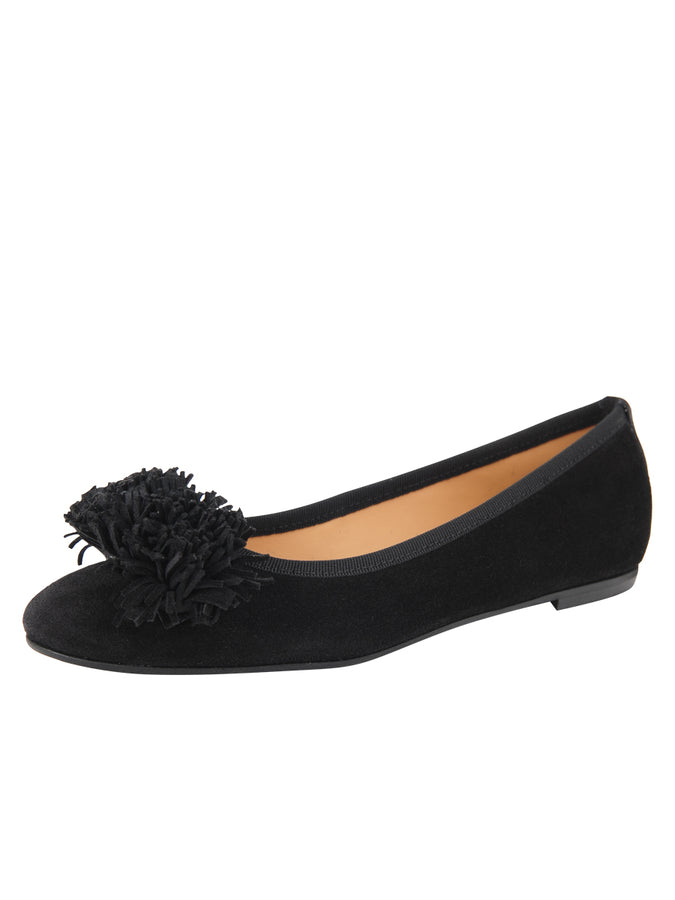 Womens Black Suede Kerry Flat