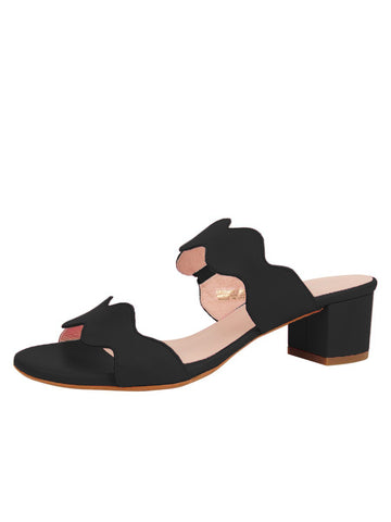 Womens Black Palm Beach Scalloped Sandal