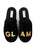 Womens Black Glam Embroidered Slipper