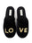 Womens Black Love Embroidered Slipper