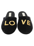 Womens Black Love Embroidered Slipper 7