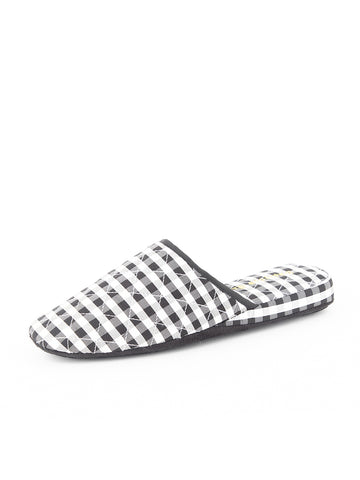 Womens Black Sari Silk Check Slipper