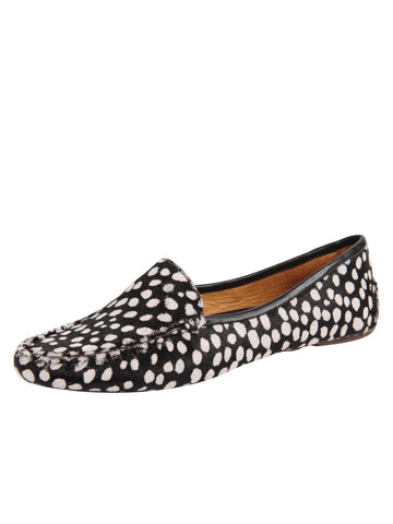 Womens Black & White Spotted Jillian Driving Moccasin