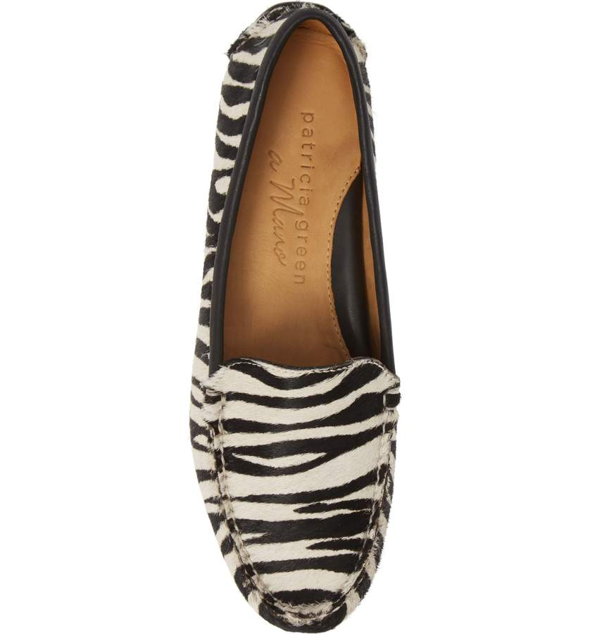 Womens Black & White Zebra Haircalf Jillian Driving Moccasin 4
