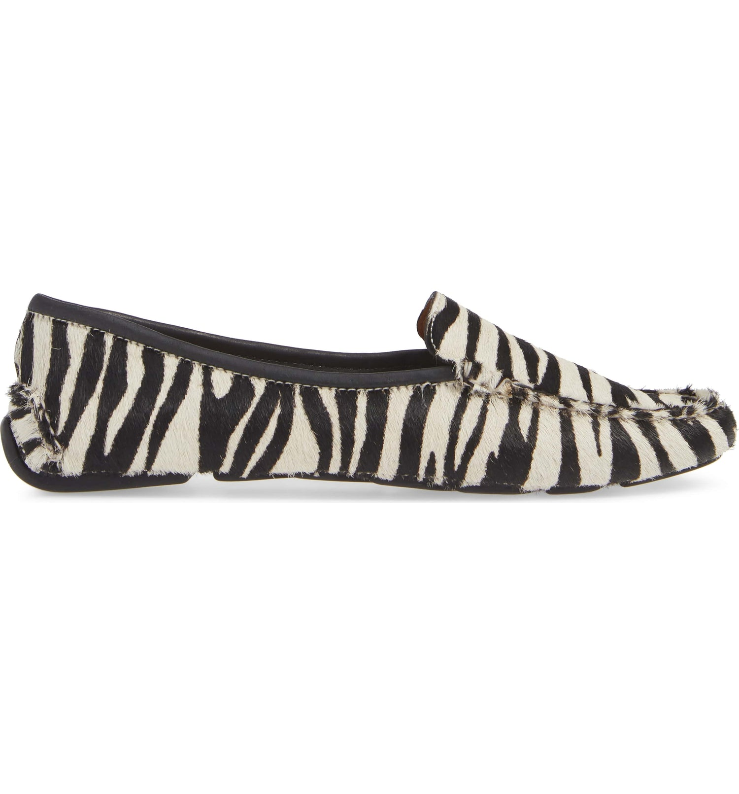 Womens Black & White Zebra Haircalf Jillian Driving Moccasin 7