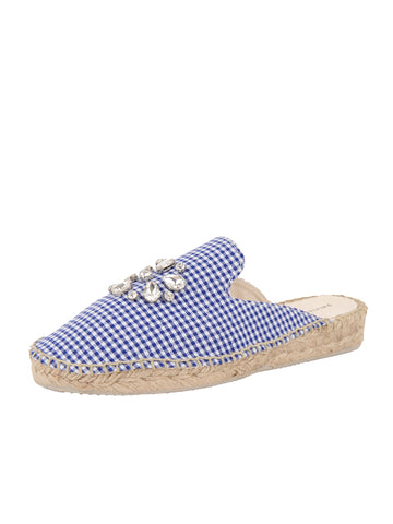 Womens Blue Gingham Glam