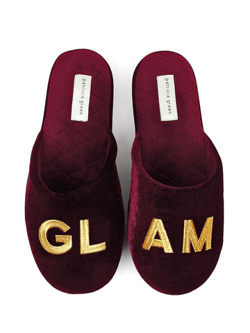 Womens Burgundy Glam Embroidered Slipper