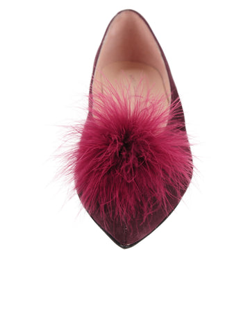 Womens Claret Maribou Feather Pouf Flat 4 Alternate View