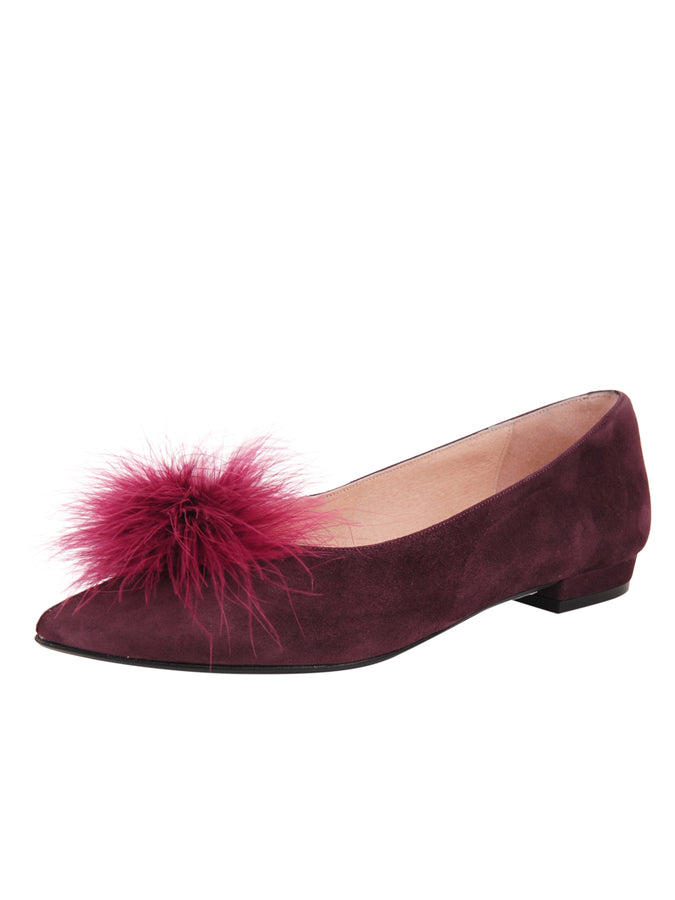 Womens Claret Maribou Feather Pouf Flat