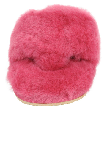 Womens Hot Pink Vail Shearling Thong Slipper 4 Alternate View