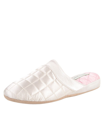 Womens Ivory/Pink Jackie Satin Quilted Slipper
