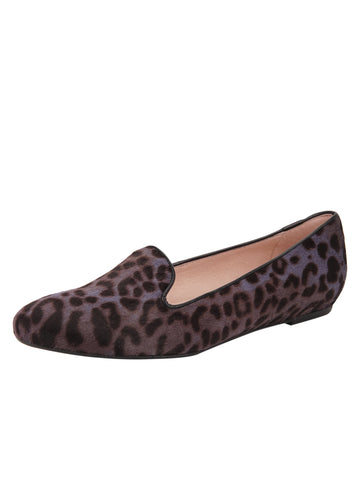 Womens Lavender Leopard Waverly Smoking Slipper Flat