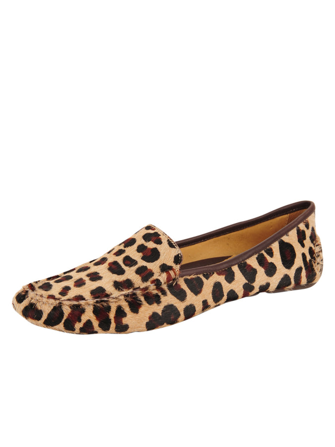 Womens Leopard Haircalf Jillian Driving Moccasin