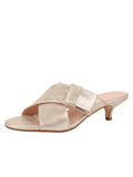 Womens Metallic Gold Origami Kitten Heel Sandal
