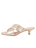 Womens Metallic Gold Origami Kitten Heel Sandal 6