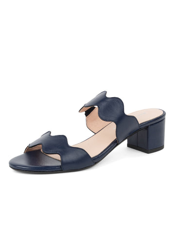 Womens Navy Leather Palm Beach Scalloped Sandal