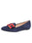 Womens Navy Suede Avery Smoking Slipper Flat