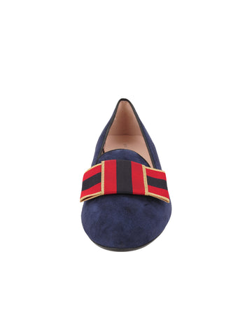 Womens Navy Suede Avery Smoking Slipper Flat 4 Alternate View