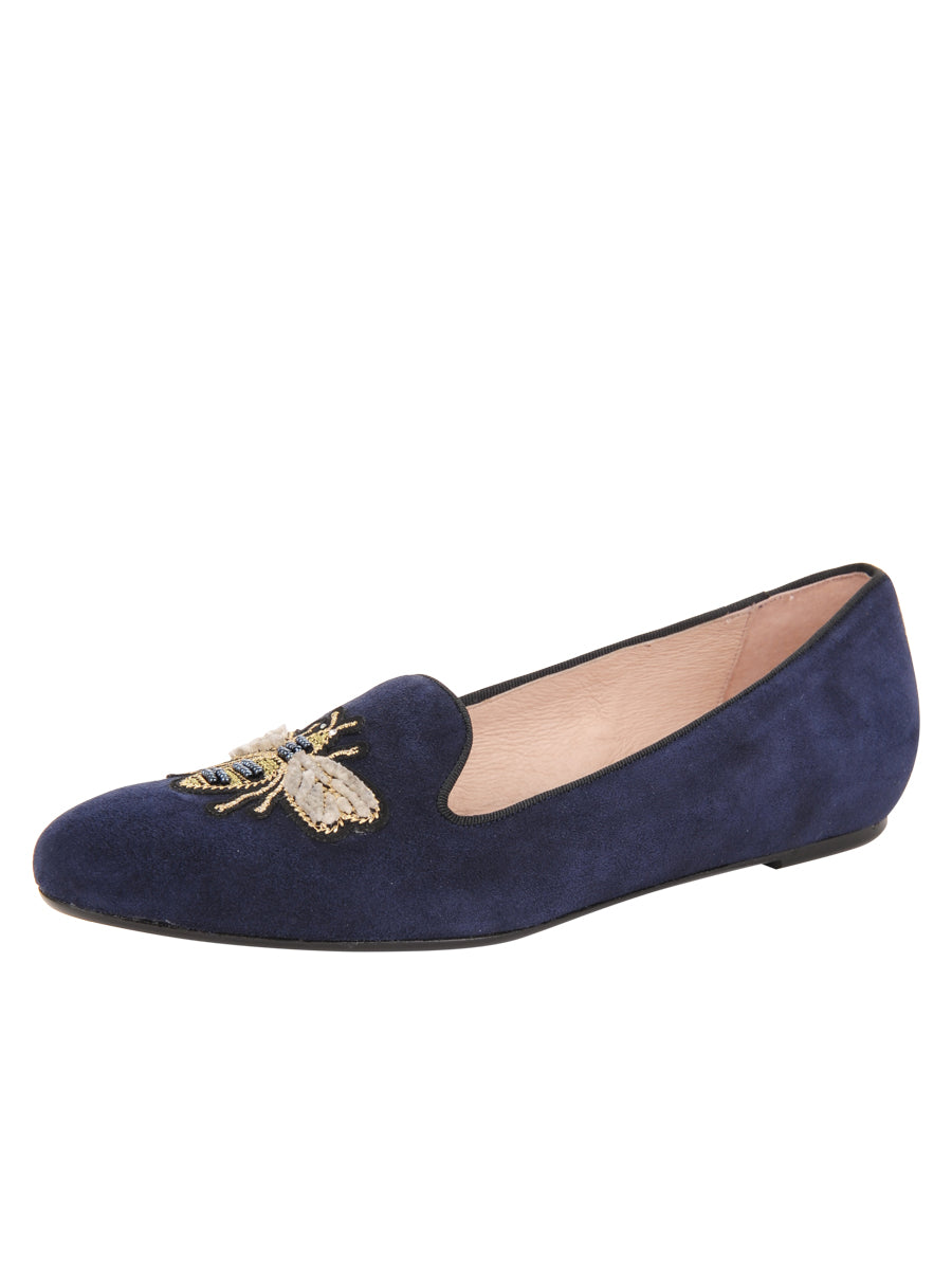 Womens Navy Suede Bee Smoking Slipper Flat