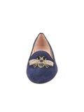 Womens Navy Suede Bee Smoking Slipper Flat 4