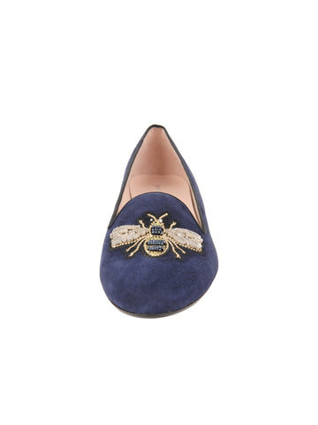 Womens Navy Suede Bee Smoking Slipper Flat 4 Alternate View