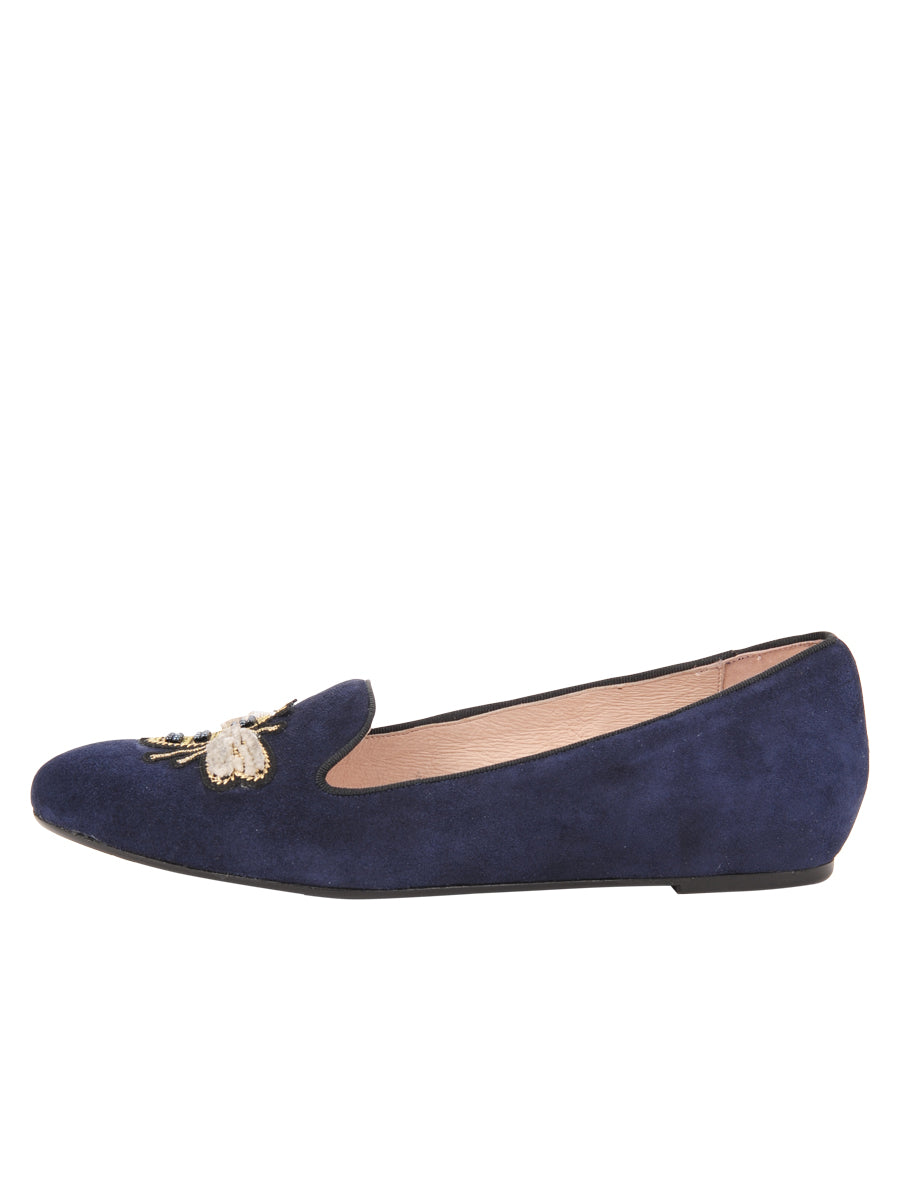 Womens Navy Suede Bee Smoking Slipper Flat 6