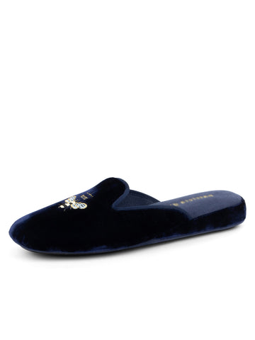 Womens Navy Velvet Queen Bee Embroidered Slipper