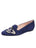 Womens Navy Butterfly Smoking Slipper Flat