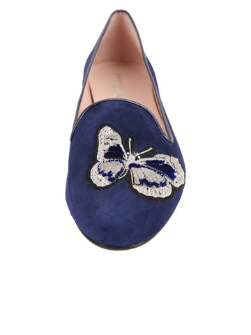 Womens Navy Butterfly Smoking Slipper Flat 4 Alternate View