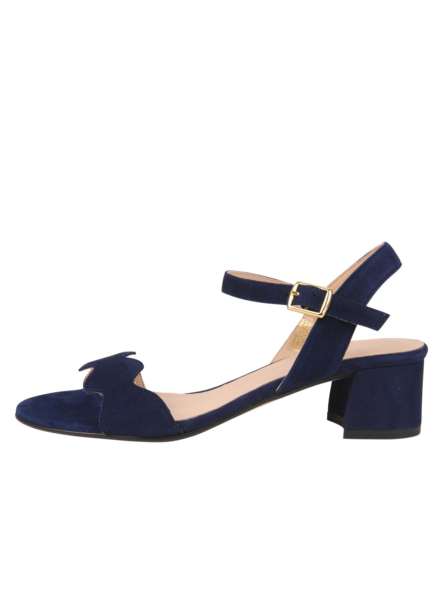 Womens Navy Gina Block Heeled Sandal 6