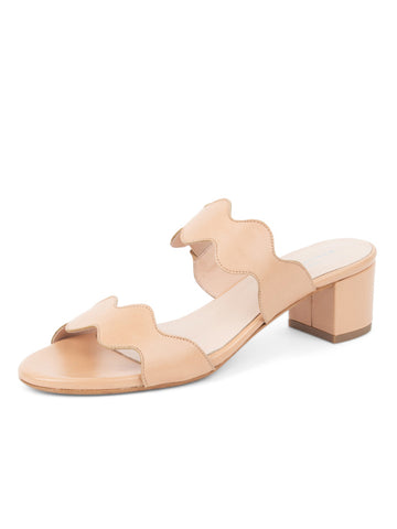 Womens Nude Leather Palm Beach Scalloped Sandal